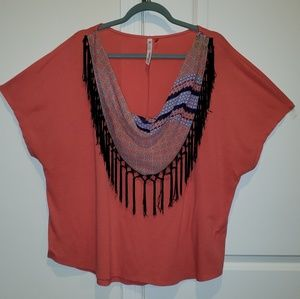 NY Collection Coral Top with Scarf Fringe